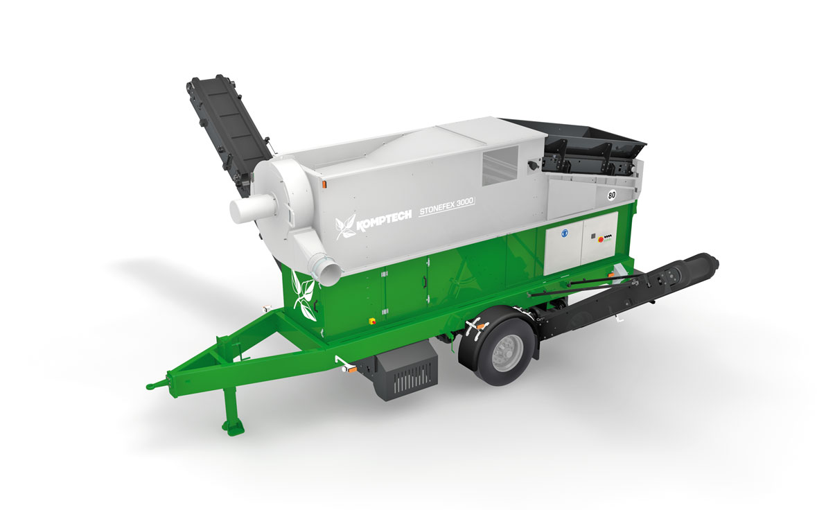 Overview of the Komptech Stonefex mobile stone separator