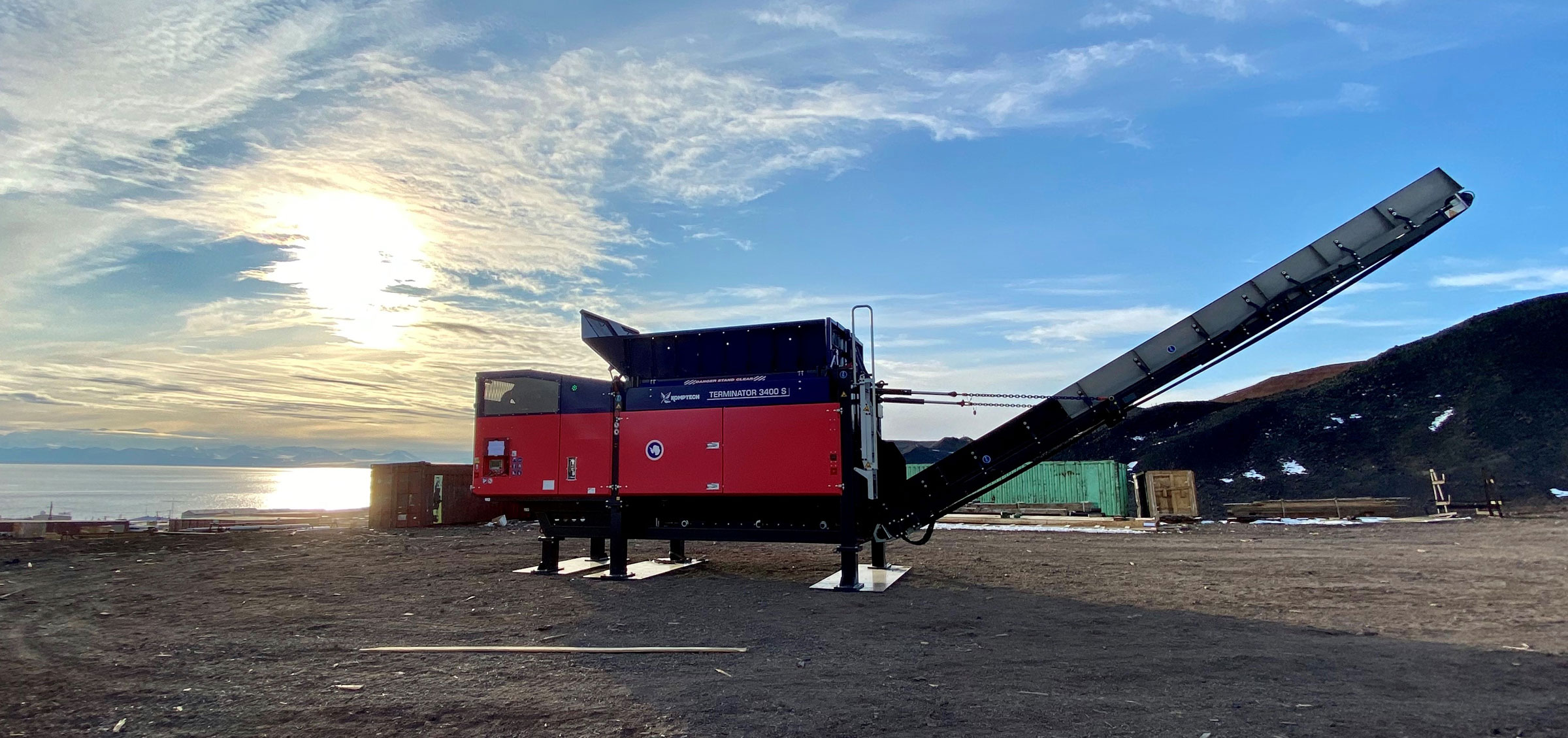 The Komptech Terminator Single-Shaft Waste Shredder at McMurdo Station in Antarctica