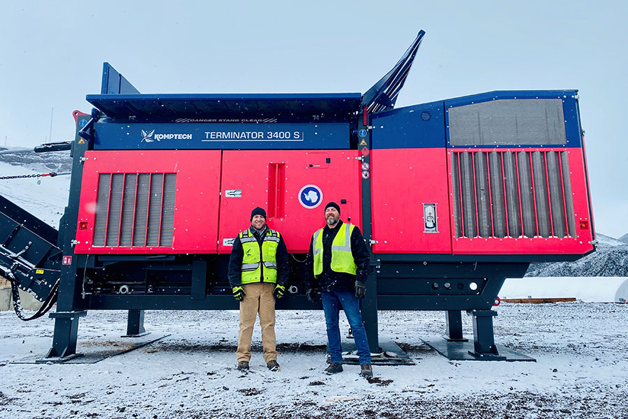 Todd Dunderdale and Auguie Henry of Komptech Americas with the Terminator shredder in Antarctica.