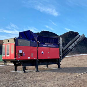 The Terminator single-shaft waste shredder at McMurdo Station for the Antarctic Infrastructure Modernization for Science (AIMS) project.