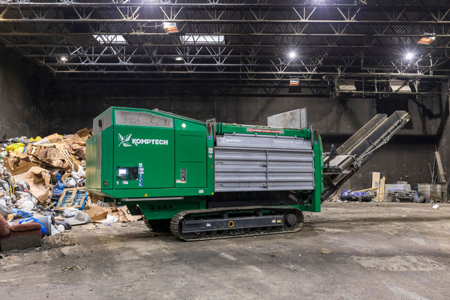 The Komptech Terminator 6000 waste shredder at Prairieland Solid Waste Management Facility.