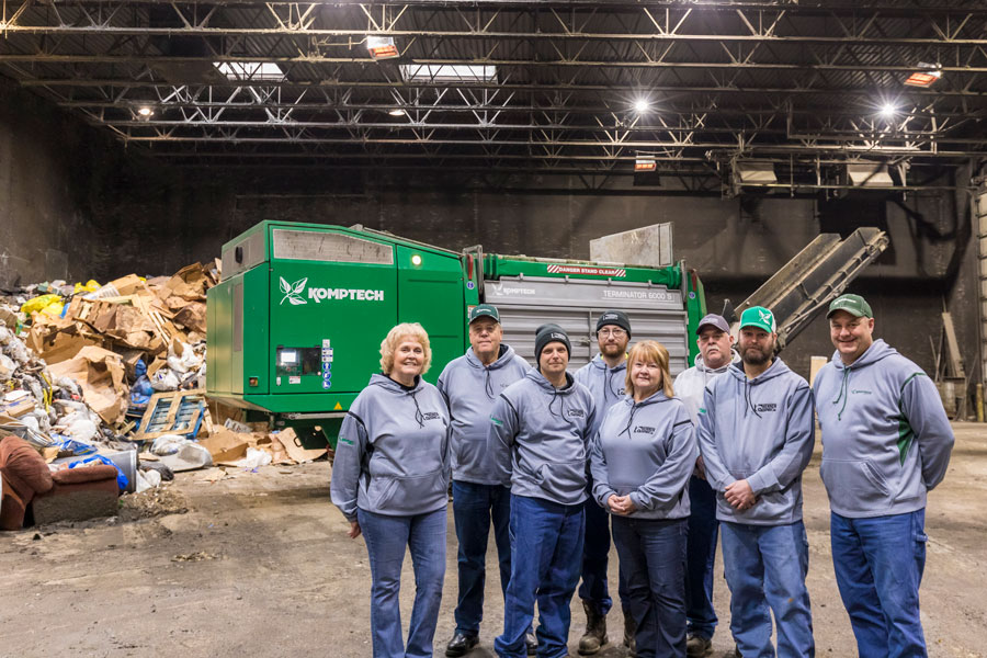 The Prairieland Solid Waste Management Facility team with Keith Hennen and Brad Kiecker from Hennen Equipment.