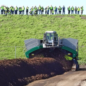 Komptech Topturn windrow turner processing compost at USCC's COMPOST17