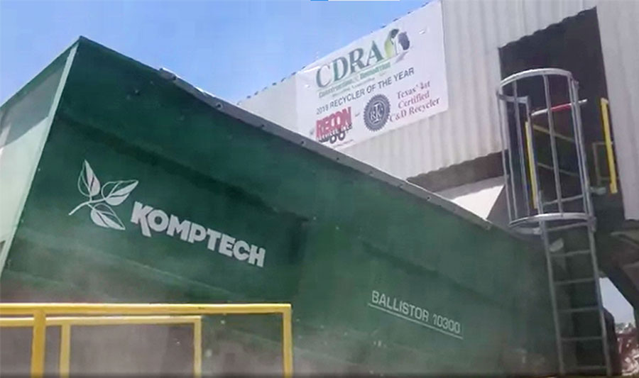 The Komptech Ballistor ballistic separator processing C&D waste at Recon Services in Austin, TX.