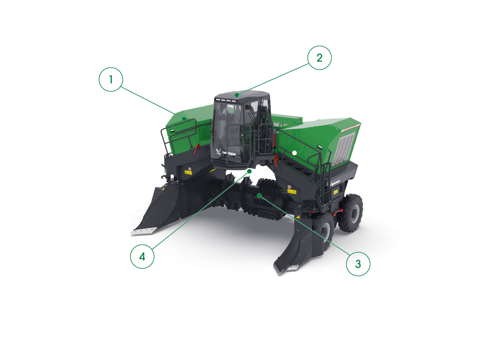 Core features of the Komptech Topturn X6000 Compost Windrow Turner