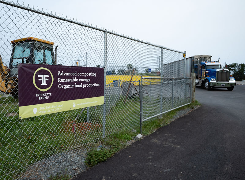Entrance to the new Freestate Farms advanced composting facility in Manassas, VA.