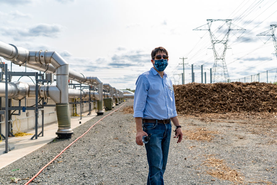 Doug Ross, CEO of Freestate Farms, overlooks the odor filtration system at the new composting facility.