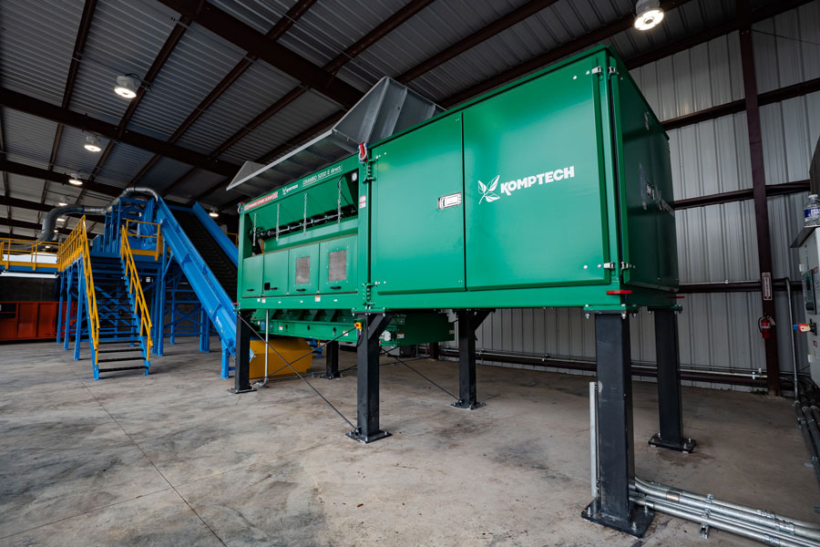 The Komptech Crambo dual shaft shredder is used at Freestate Farms to size reduce and homogenize incoming organic waste.