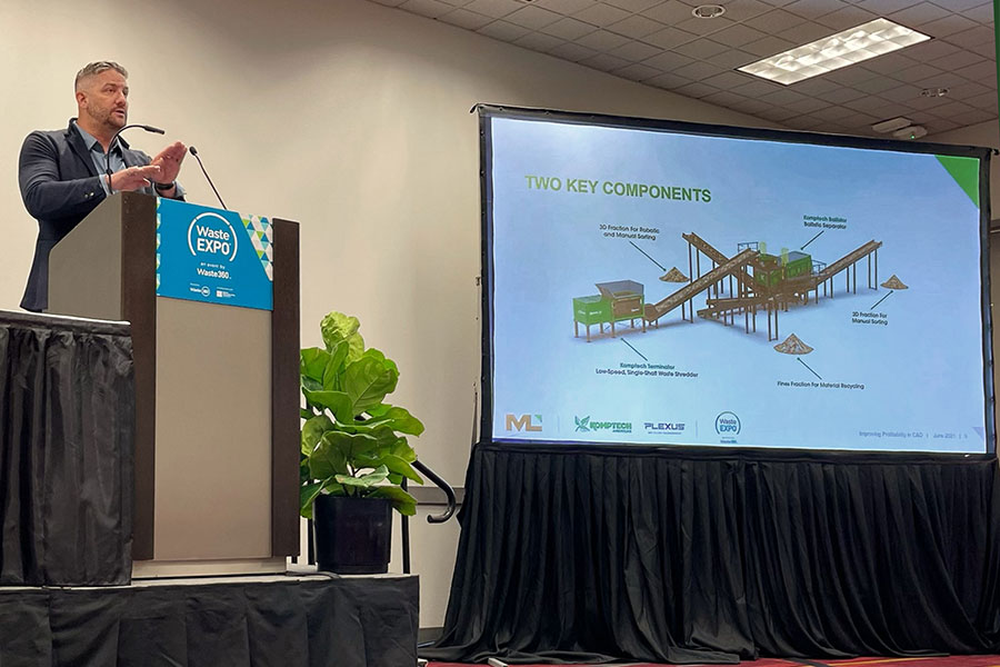 Will Hancock delivers a presentation at WasteExpo 2021 on improving profitability in C&D processing.