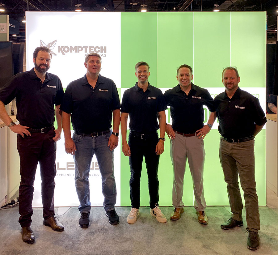 The Komptech Americas sales team in the booth and ready for opening day at the WasteExpo 2021 exhibition.