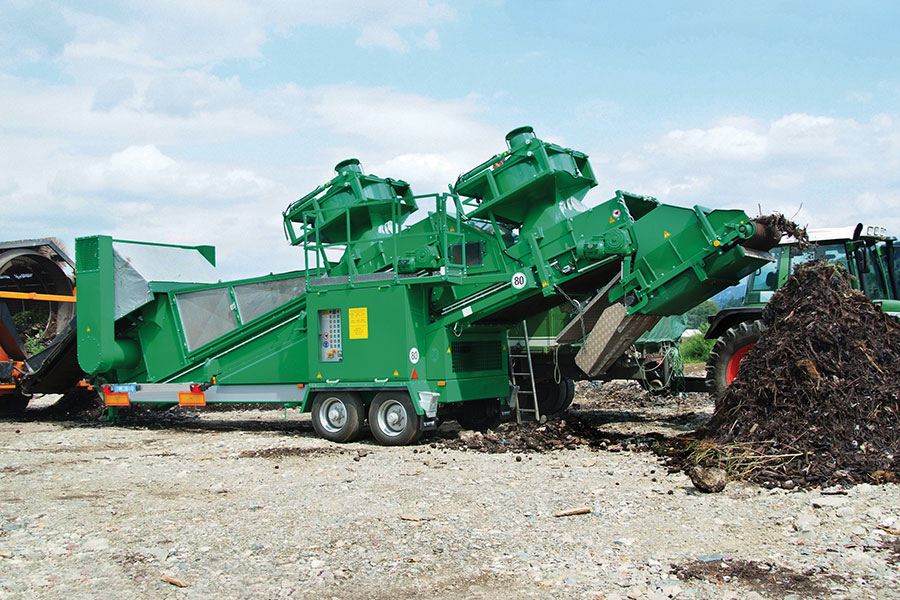 The Komptech Hurrikan S windsifter separator removing contaminants and overs from compost.