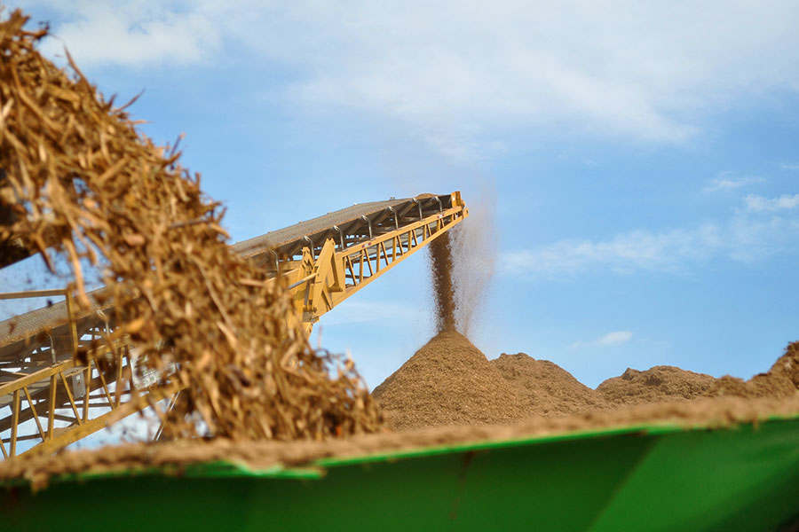 Mulch being processed at a commercial production facility.